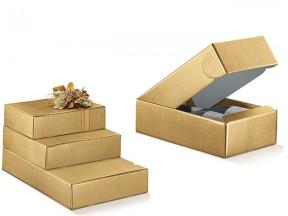 Scatola di cartone seta oro per 4 bottiglie  mm. 340x370x90