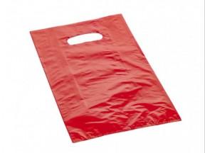 Sacchetti plastica rossi con manico fagiolo cm 40+5+5x60 pz.30