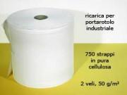Bobina in pura cellulosa 2 veli 750 strappi da cm.27x32 2 rotoli