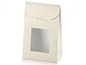 Sacchetto pelle bianco con finestra mm.170x70x235 pz.10