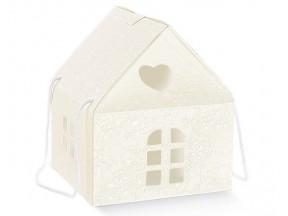 Scatola cartone casetta bianca manici cordino mm.245x245x150