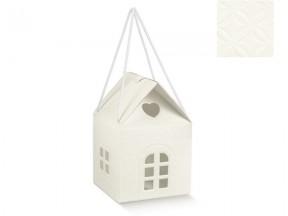 Scatola cartone a casetta bianca mm.200x200x180 manici cordino