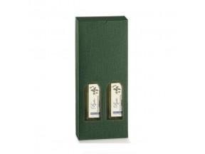 Scatole per 2 bottiglie piccole seta verde mm.90x45x215 pz.10