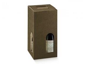Scatole cartone marrone 4 bottiglie c/maniglia 180x180x340 pz.10