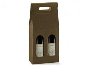 Scatola per 2 bottiglie pelle marrone mm. 180x90x385 pz.10