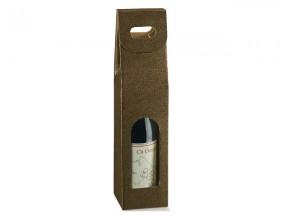 Scatola per 1 bottiglia pelle marrone mm.90x90x350 pz.10
