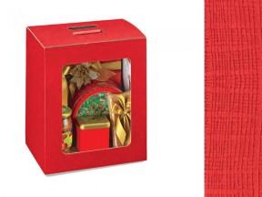 Scatola cartone pelle rosso con finestra mm 280x200x350