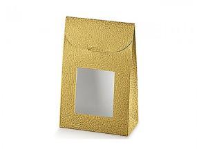 Sacchetto pelle oro con finestra mm.115x55x180 pz.10