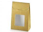Sacchetto pelle oro con finestra mm.170x70x235 pz.10