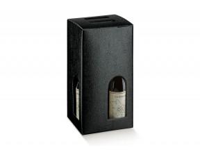 Scatole portabottiglie per 4 bott.pelle nero mm.180x180x340