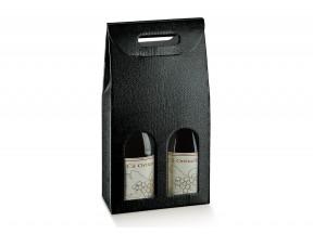 Scatole portabottiglie per 2 bott.pelle nero mm.180x90x385