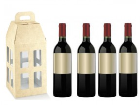 Scatola cartone tela neutro per 4 bottiglie  cm.18x18x39,5