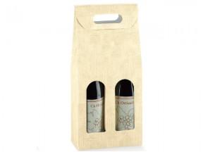 Scatole per 2 bottiglie tela neutro mm. 180x90x385 pz.10