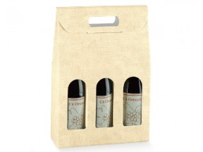 Scatole per 3 bottiglie tela neutro mm 270x90x400 pz.10