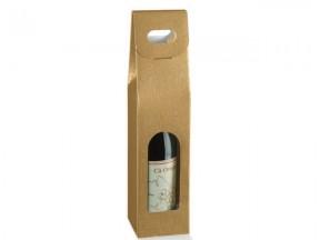 Scatola per 1 bottiglia seta oro mm.90x90x350 pz.10