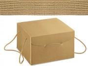 Scatole regalo oro mm.245x245x150 effetto seta manici cordino
