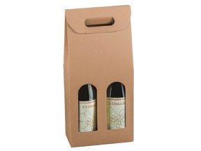 Scatola per 2 bottiglie avana mm.180x90x385 pz.10