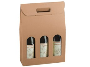 Scatole portabottiglie per 3 bottiglie avana mm.270x90x385 pz.10
