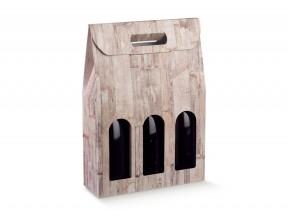 Scatole portabottiglie per 3 bott.wood mm.270x90x385