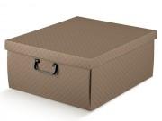 Scatola cartone matelasse' cuoio con manici  mm 400x460x230