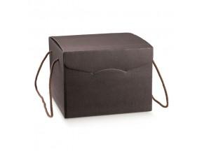 Scatole regalo marrone mm.290x355x195 effetto pelle manici cord.