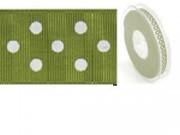 Nastro in tessuto verde oliva a pois bianchi mm.25 metri 20