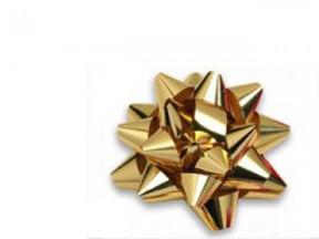 Stelle fiocchi coccarde metal oro adesive diam. cm.4 pz.100