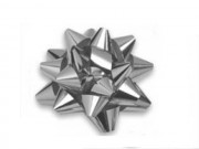 Stelle fiocchi coccarde metal argento adesive diam. cm.4 pz.100