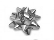 Stelle fiocchi coccarde metal argento adesive diam. cm.6 pz.100