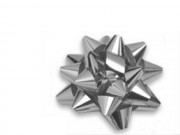 Stelle fiocchi coccarde metal argento adesive diam. cm.8 pz.50