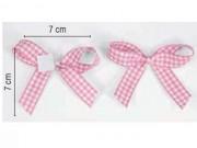 Fiocchetti adesivi cm.7x7 nastro quadretti rosa pz.18