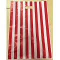 Sacchetti plastica righe rosse 25+5+5x45 pz.50 circa