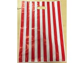 Sacchetti plastica righe rosse 40+5+5x60 pz.30 circa