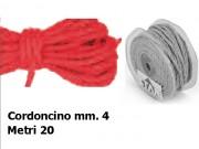 Cordoncino naturale mm.4 metri 20 rosso