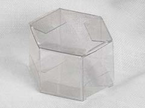 Scatola trasparente esagono mm 60  h. 30 pz. 50