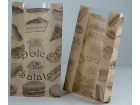 Sacchetto carta politenata pz.100 x alimenti c/finestra cm.19x35