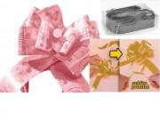 Fiocco pronto per nascita battesimo rosa diam. mm.160 pz.5