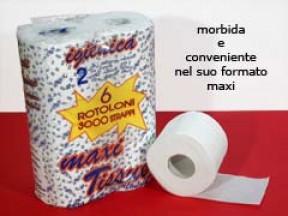 Carta igienica  6 rotoli maxi 2 veli  mt..60 5 confezioni