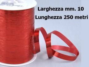 Nastro metal lucido rosso mm. 10 metri 250