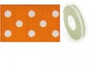 Nastro in tessuto arancio a pois bianchi mm.25 metri 20