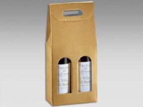 Scatole per 2 bottiglie seta oro mm. 180x90x400 pz.10