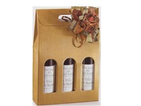 Scatola per 3 bottiglie seta oro mm. 270x90x400 pz.10