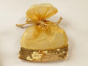 Sacchetto oro con paillettes mm. 120x160 sconto 50%