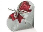 Portaconfetti bomboniera cuore argento mm.65x15 pz.10