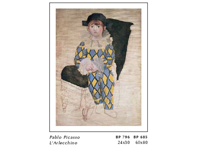 Pablo Picasso L Arlecchino Cm 60x80 Stampa Arte Affiches Stampe D
