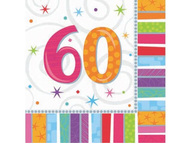 Molto TOVAGLIOLI DI CARTA CM.33X33 BUON COMPLEANNO 60 ANNI PZ.16, FESTA  IA68
