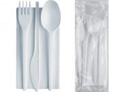 Set forchetta cucchiaio coltello bianco+tovagliolo 50 confezioni