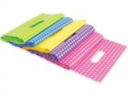 Sacchetti borse plastica cm.35x50 a pois in 5 colori pz.100