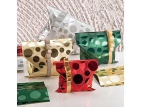 Buste regalo metallizzate mille bolle rosso 35x50 pz.50